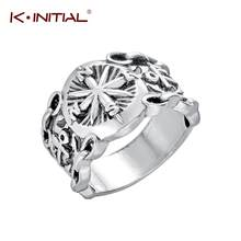 Kinitial Vintage Runes Vikings Compass Magic Ring Nordic Amulet Men Signet Retro Rings Fashion Party Jewelry Drop Ship Wholesale(China)