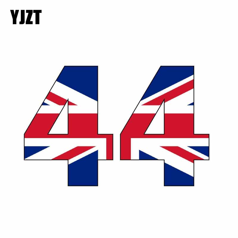 YJZT 15.5CM*10CM Motorcycle F1 Number 44 Flag <font><b>Windows</b></font> Car <font><b>Sticker</b></font> Decal Accessories 6-0601 image