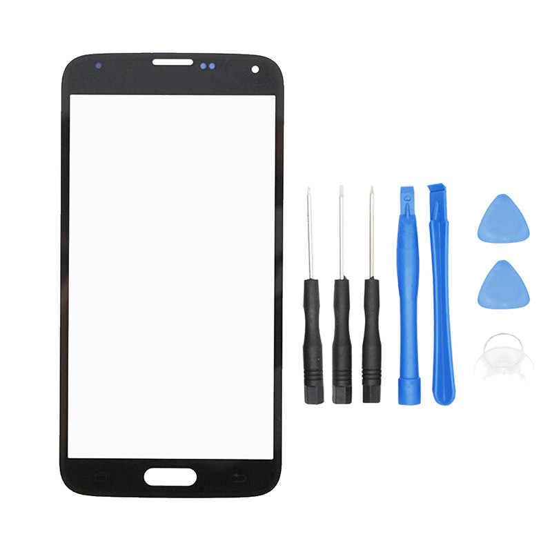 Alesser untuk Samsung Galaxy S5 G900F G900I Luar Lensa Kaca Perakitan untuk Samsung G900M G900A G900W8 Depan Kaca + Alat 5.1''