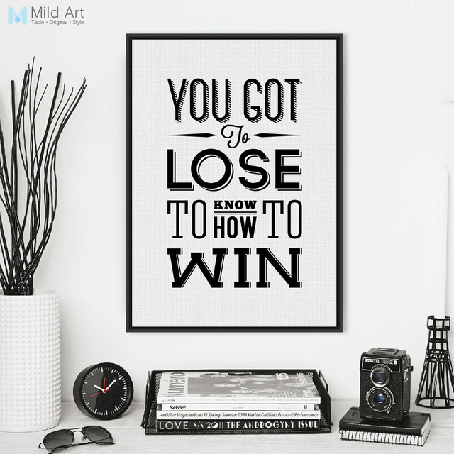 Modern black white motivational typography win quotes canvas art print poster wall pictures office home decor