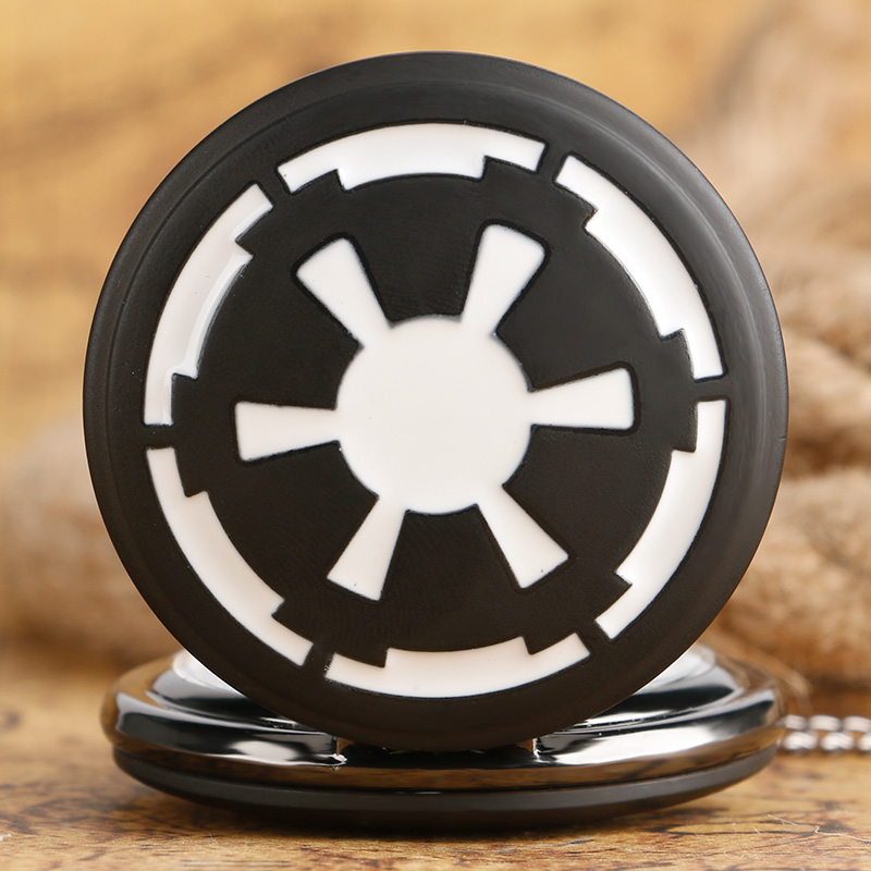 Hot Selling Galactic Empire Badge Theme Men's Pocket Watch Black Darth Vader's Shield Star Wars Fans Best Watches For Male Boys