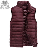 Men Vests White Goose Down 90% Casual Light and Thin Warm Winter Jackets Stand Collar