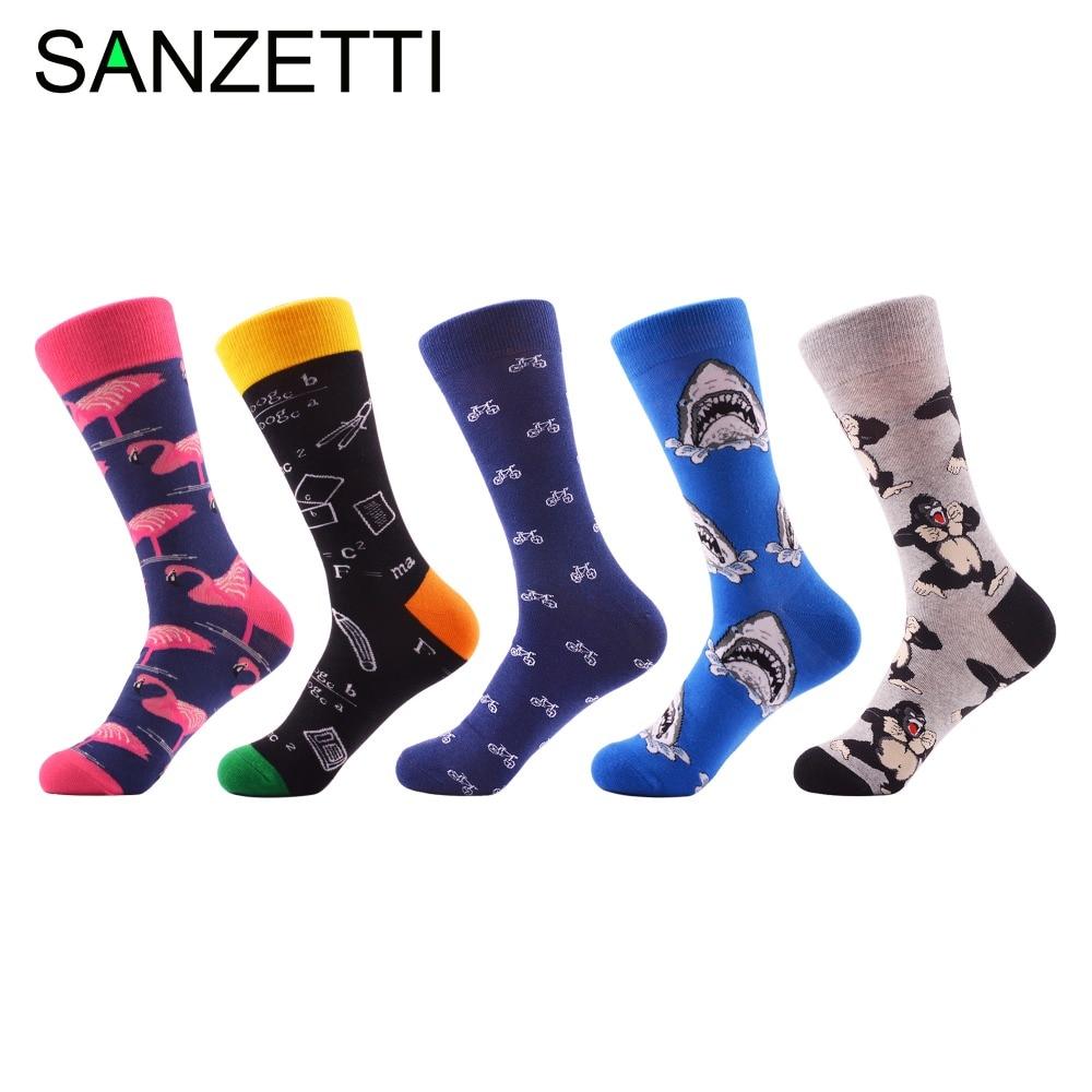 ab32407c381a SANZETTI 5 Pairs/Lot Funny Cotton Men's Socks Colorful Shark Orangutan  Pattern Cool Skateboard Socks