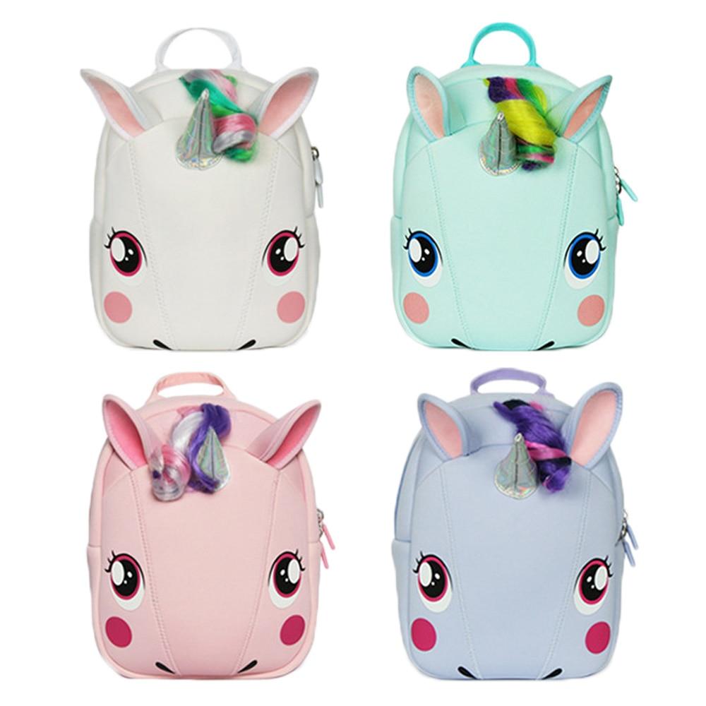 INT'G Unicorn Children's Backpack Child Girl Bag Cartoon Kids Plush Backpack School Bag Children's Kindergarten Baby Student