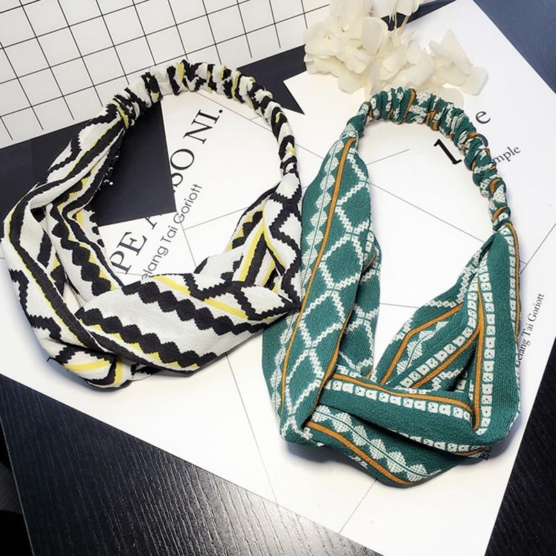 DIY Vintage Retro Handmade Cloth Fabric Head Wrap Headwear Women Headband Bow Cross Hair Accessories Diademas Para Mujer 75AA126