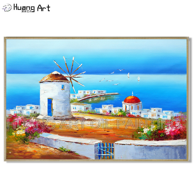 Artist Hand-painted High Quality Greek Aegean Sea Landscape Oil Painting White Building Landscape Oil Painting for Room Decor
