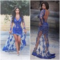 Evening Dress Royal Blue Robe De Soiree Lace Long Sleeve Evening Dresses Mermaid Sexy Backless Evening Gowns Vestido De Festa
