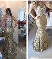 De Encaje de oro Vestido de Noche Largo Sirena Con Cuentas de Perlas Illusion Volver Vestidos de Partido Formal de La Boda para Las Mujeres Vestidos Para Ocasiones Especiales