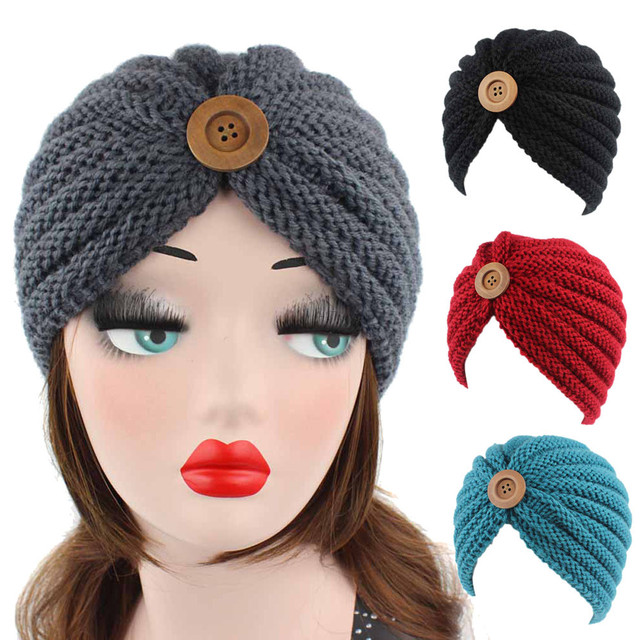 2018 Winter Hat Women Knitted Cotton Cancer Beanie Hats Ladies Retro Button  Turban Head Wrap Cap a343358a784