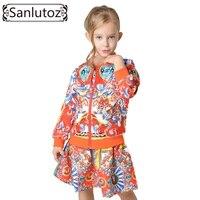 Sanlutoz muchacha de los niños que arropan el sistema del niño embroma la ropa 2016 otoño invierno traje de deporte para la muchacha del chándal de marca (jacket + dress)