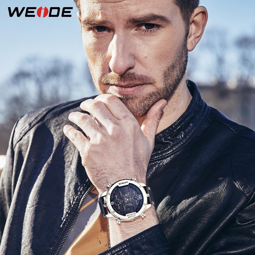 WEIDE Men's Sports Analog Watch Digital Calendar Quartz Leather Strap Wristwatches Clock Relogio Masculino Military male Hours все цены