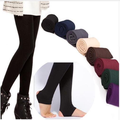 2019 Autumn winter woman thick warm leggings candy color brushed charcoal Stretch Fleece Pants Trample Feet Leggings 13