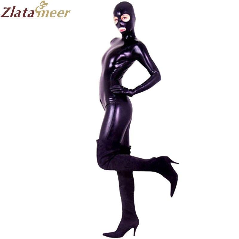 Femmes Sexy en caoutchouc Latex Catsuit une pièce grande taille en caoutchouc plein corps-costumes Latex Zentai costume fétiche corsage LC034