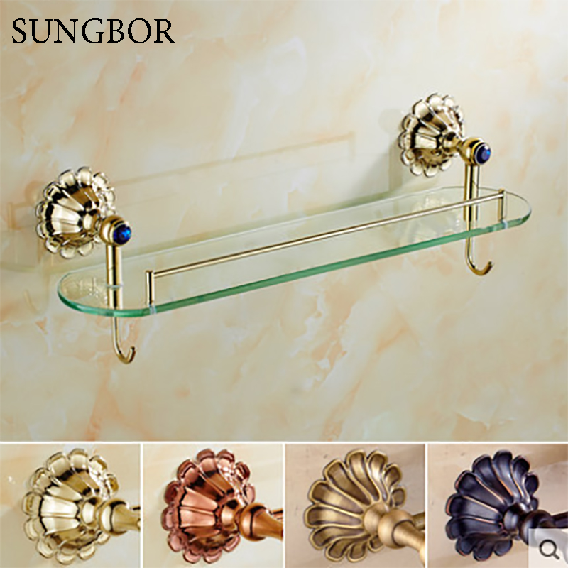 Antique/Gold/Black/Rose Brass Bathroom Shelves Towel Holder Towel Bar&Hook <font><b>With</b></font> Glass Dressing Shelf HQ-2313K