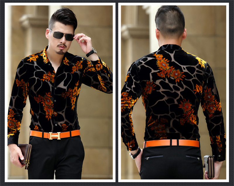 Gold Floral Embroidery Men Lace Shirt 2018 Luxury Brand Mens Dress Shirt Transparent Sexy Male High Quality Shirt Camisa Social 2