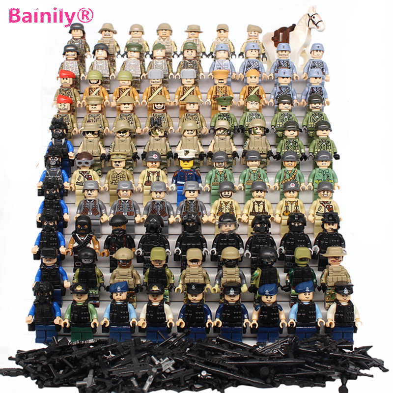 [Bainily]Weapons Army Soldiers Building Set Blocks Toys For Children Compatible With LegoINGly Army pvc building blocks army field combat military escort weapons