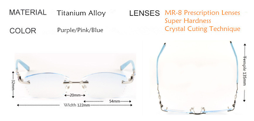 3f973e0dcb Titanium Alloy Eyeglasses Women Rimless Prescription Reading Myopia ...