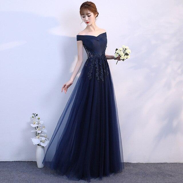 2019 חיל הים כחול פורמליות המפלגה שמלת אפליקציות טול סקסי כבוי כתף סירת צוואר אלגנטי ארוך שמלות נשף ערב שמלות