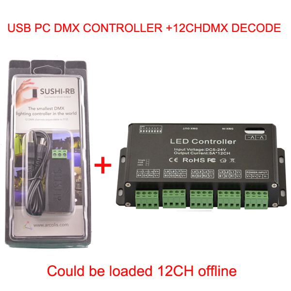 12 channel Easy dmx led rgb controller and  dmx usb PC Controller Could be loaded 12CH offline  dmx decoder 24ch 24channel easy dmx512 dmx decoder led dimmer controller dc5v 24v each channel max 3a 8 groups rgb controller iron case
