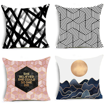 2018 New Geometric Polyester Cushion Cover Mosaic style Pillow Case Black and white Home Decorative Pillows Cover For Sofa Car