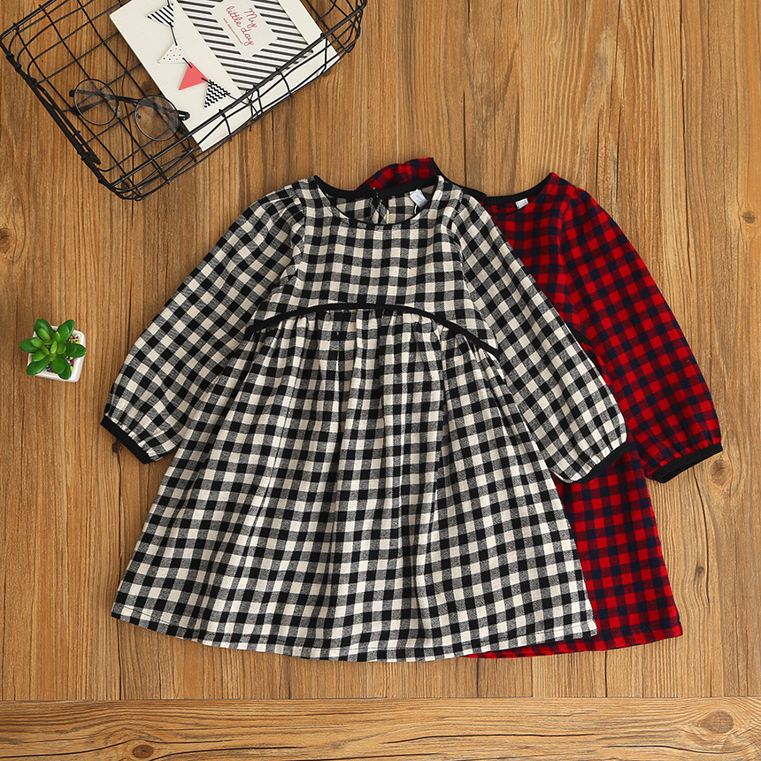 2018 Fashion Girls Clothing Plaid Girl Dress Spring Long Sleeve Children Dresses Casual Cotton Dresses for Girls 2-6y toddlers girls dots deer pleated cotton dress long sleeve dresses page 2