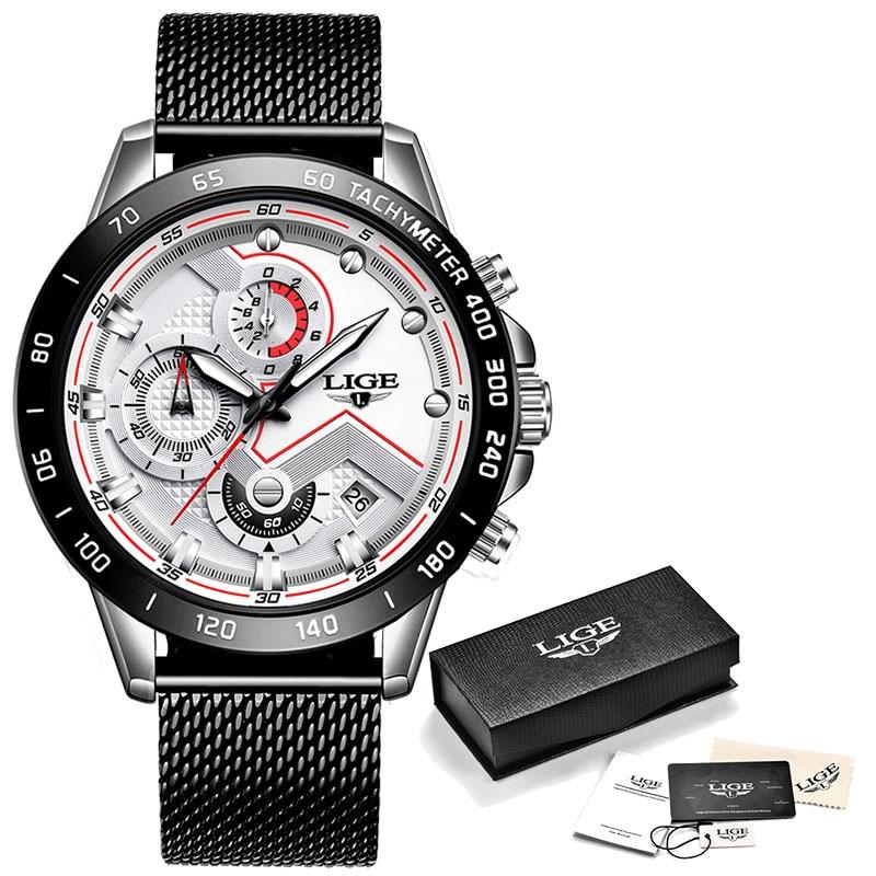 LIGE Fashion Mens Watches Top Brand Luxury WristWatch Quartz Clock Blue Watch Men Waterproof Sport Chronograph Relogio Masculino 9