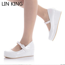 LIN KING Danganronpa Nanami Chiaki Anime Cosplay Shoes Lolita Sweet Lady wedge Shoes Round Toe Buckle Women Pumps Plus Size 43