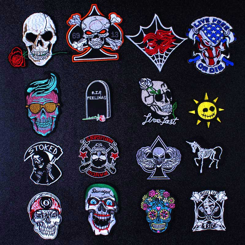Pulaqi Grave Zombie Patch Iron On Patches For Clothing Skull And Rose Patch Embroidery Thermo Stickers On Clothes Stripes DIY G in Patches from Home Garden