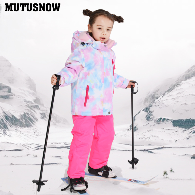 High Quality Kids Ski Suit Super Warm Girls Ski Jacket And Pants Set Waterproof Snowboarding Wear Winter Children Skiing Suit