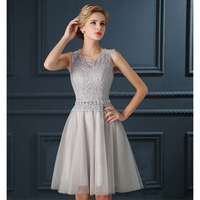 Promotion Cocktail Dresses Short Design Silver Neckline Puffy Skirt Banquet Evening Dress Spring And Summer Female