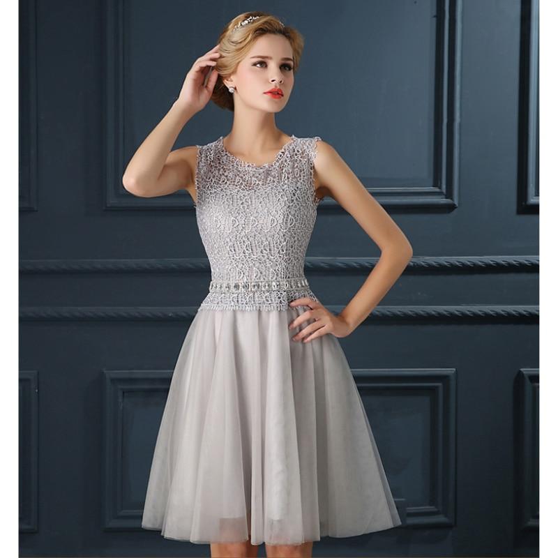 buy popular 25b05 88985 Promozione abiti da cocktail corti design argento scollo ...