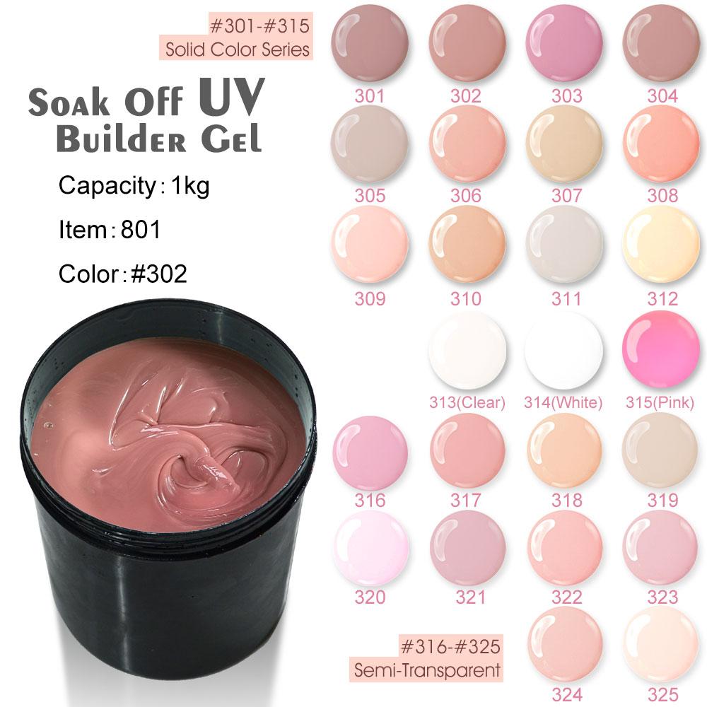 #801 CANNI 1KG Bulk Natural Color Gel For Nail Extensions Soak Off Thick UV Gel Camouflage Hard Gel Builder Gel recette merveilleuse ultra eye contour gel by stendhal for women 0 5 oz gel