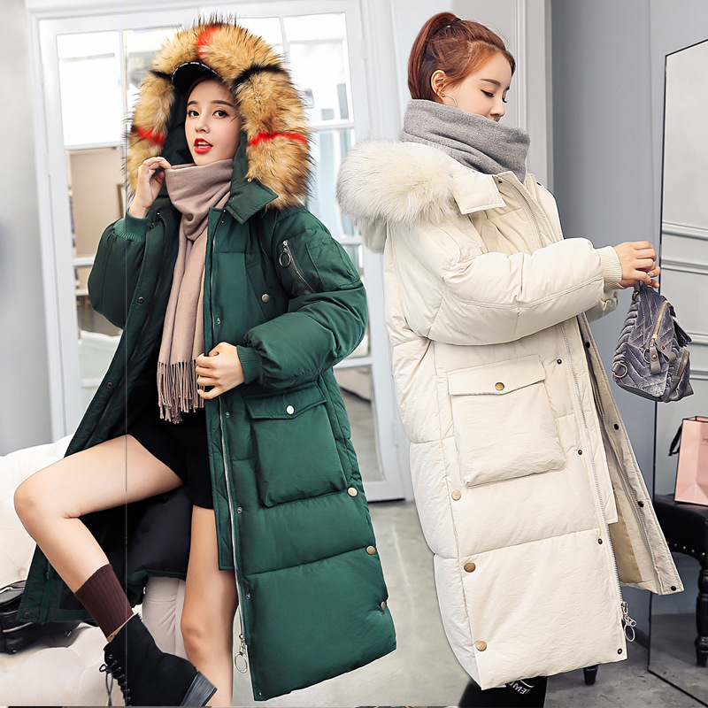 Big fur winter coat thickened parka women stitching slim long winter coat down cotton ladies down parka jacket women 2018