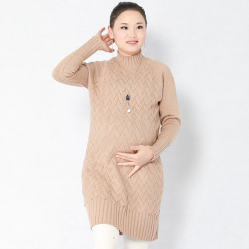 Knitted Maternity Sweater Autumn And Winter New Long Thick Pregnancy Pullover Clothes For Pregnant Women Maternity Dress 2018 autumn winter cashmer sweater women s red thick pullover 100