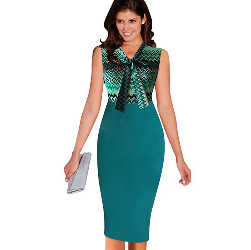 New Womens Sheath Wiggle Pencil Dress Elegant Vintage Optical Illusion Contrast Pinup Wear To Work Office Casual Party Bod G27