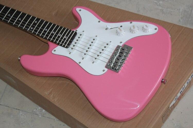 Guitare électrique rose personnalisée en usine, Pickguard blanc, ramassage 3 S, planche à doigt en bois rose, livraison personnalisée et gratuite.