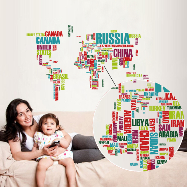 Funlife new waterproof transparent pvc colorful world map geography funlife new waterproof transparent pvc colorful world map geography world atlas map wall sticker home decoration gumiabroncs Images