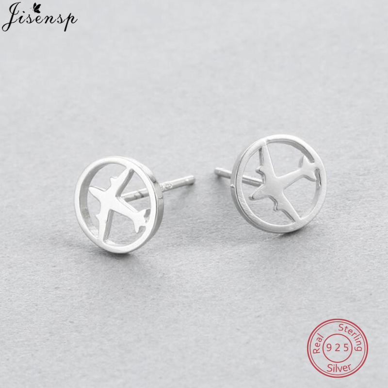 Jisensp 100% 925 Sterling Silver Aircraft Airplane Earrings Plane Stud Earrings Women Fine Jewelry S925 Stamp image