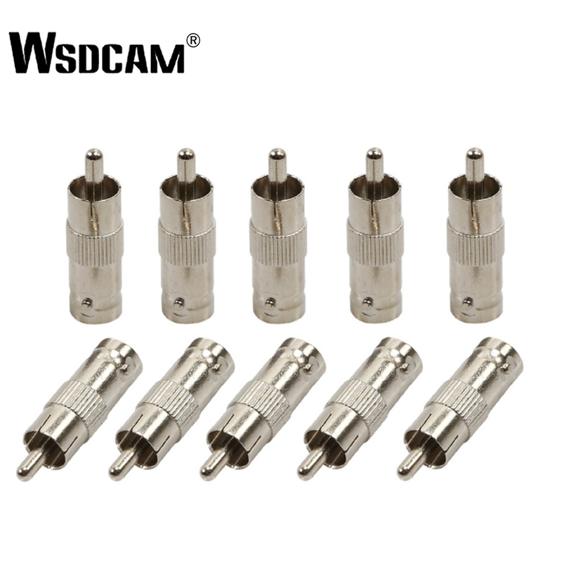 Wsdcam 10 Pcs/lot BNC Female To RCA AV Male Connector Adaptor For CCTV Security Camera Surveillance Video