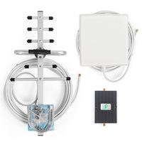 850/1800MHz 3G Signal Booster 65db Gain Signal Receiver mini Amplifier with Indoor Panel and GSM Yagi Antenna