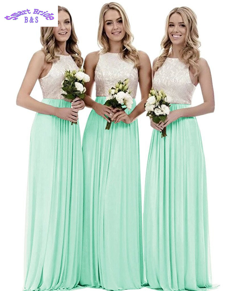 Wedding Party Dress Buy Cheap Lace Bridesmaid Dresses 2019 V-neck A Line Long Chiffon Skirts Split Beach Maxi Wedding Party Gowns For Women Formal Bdv7