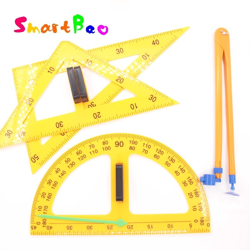 Math Teacher Ruler (Triangular Rulers,Protactor,Compasses); Teaching Math Set With Magnet Can Stick On The Board School Supplies