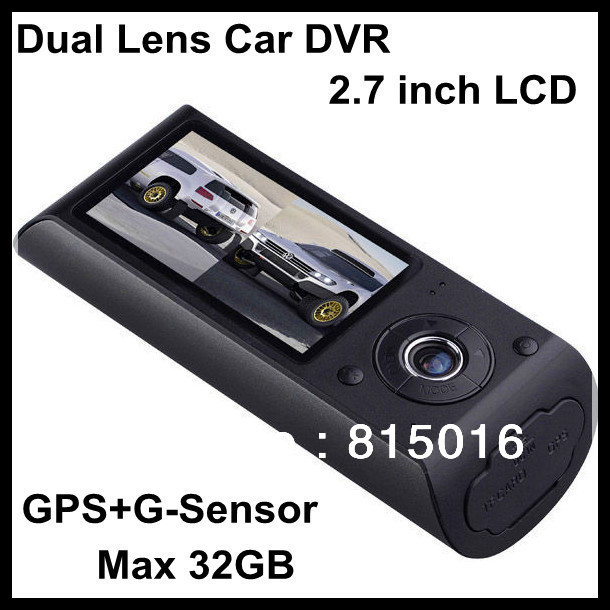 Free shipping Dual lens car DVR recorder+G-sensor+GPS,2.7 inch LCD screen Full HD car DVR camera dual Dual Lens +Elegant package