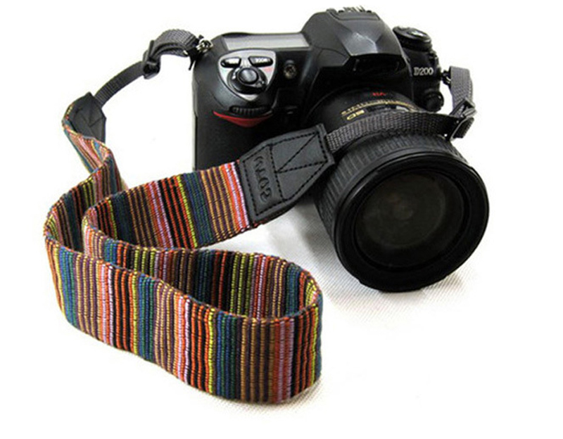 Camera Strap for Samsung Canon Nikon CSLR DSLR D3400 D3300 D3200 700D 600D Color Stripes Soft DSLR Shoulder Strap Grip