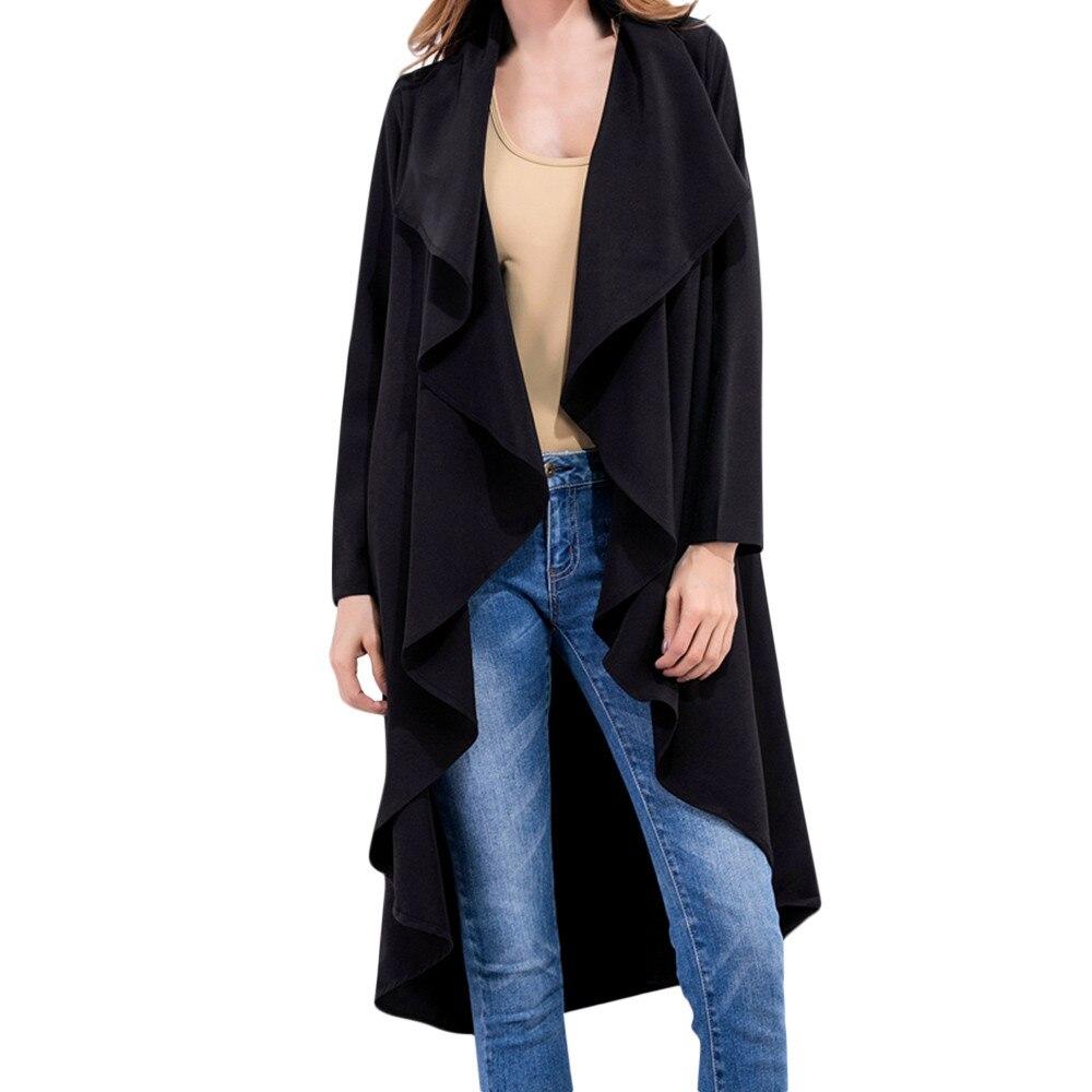 #4 Dropship 2018 Neue Heiße Mode Für Frauen Damen Rüschen Unregelmäßige Beiläufige Lose Mantel Outwear Lange Windjacke Freeship Geschickte Herstellung