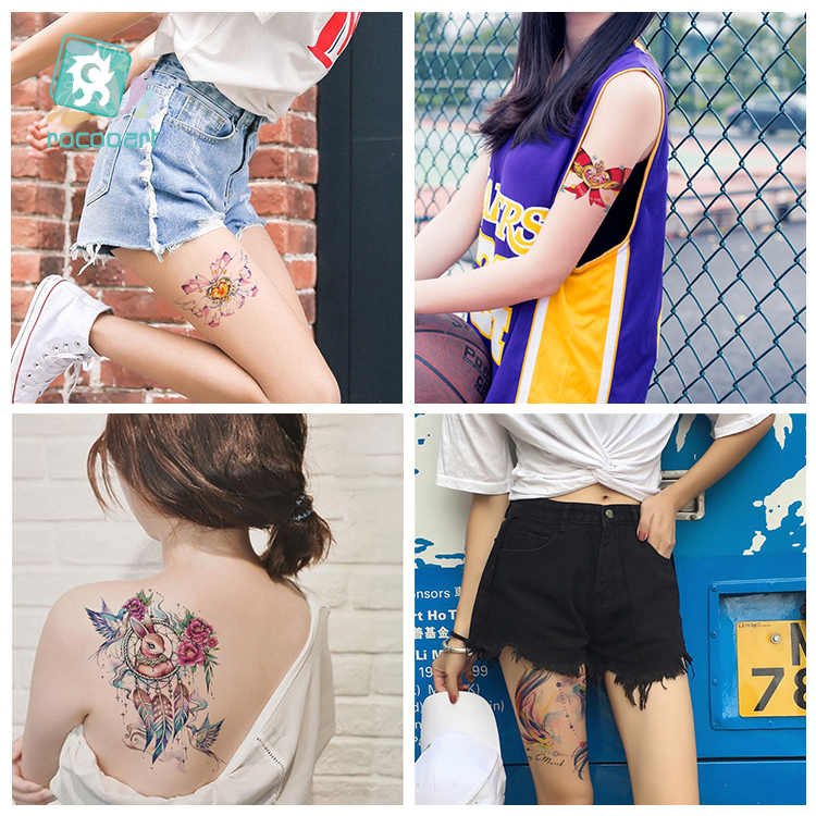 Rocooart 2019 nuevo tatuaje grande Lol juego papel tatuaje temporal pegatinas bonitas de dibujos animados tatuaje corporal arte Flash tatuajes falsos brazos