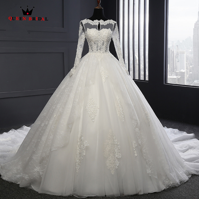Custom Made Ball Gown Long Sleeve Lace Beading Pearls Luxury Elegant Wedding Dresses Real Photos font