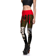 Scorching Womens Vogue Halloween Graffiti Print Slim Leggings For Feminine Plus Dimension Cranium Digital printing Pencil Pants Trousers 4XL