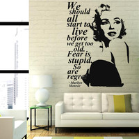 Hot Sale Marilyn Monroe Quote Regret Wall Decal Fashion PVC Stickers Decor Removable Decor Sticker GW