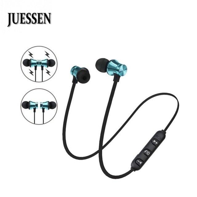 JUESSEN Wireless Magnetic Headset Stereo Bluetooth 4.1 Earphone Metal Sweatproof Sports Earphones With Mic For xiaomi iPhone